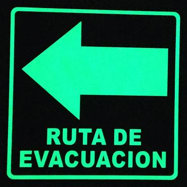 Ruta de Evacuación Izquierda Foto luminiscente