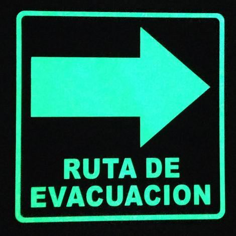 Ruta de Evacuación Derecha Foto luminiscente