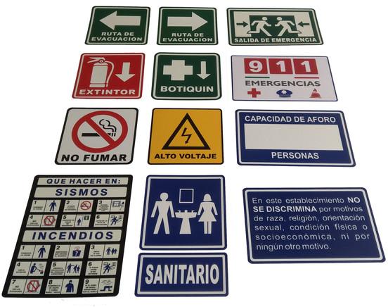 Kit Señalamientos 20 x 20 cm $ 400.00