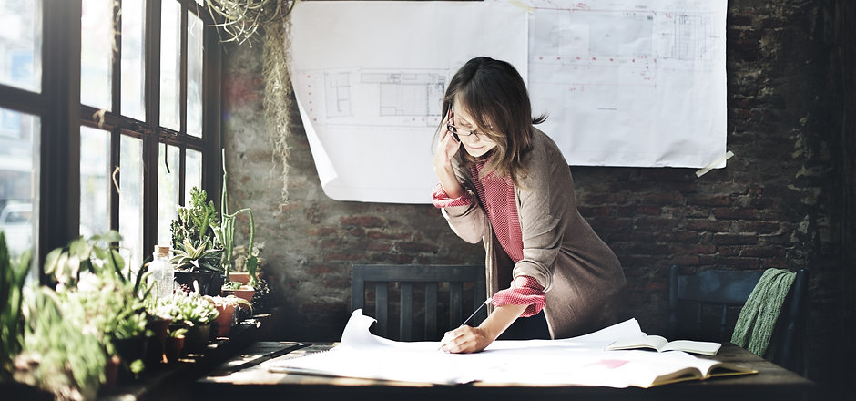Architecture Woman Working Blue Print Wo