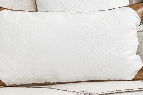 Almofada de Linho bordado branco com Couro