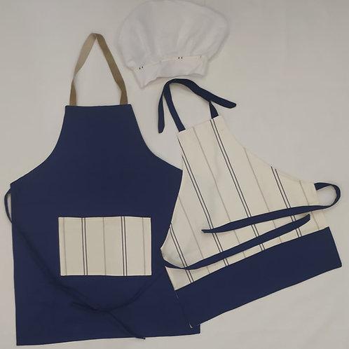 Kit Avental Azul com listras