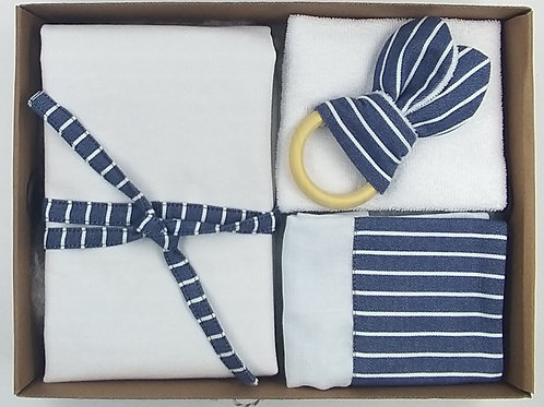 Kit Presente listras azul jeans