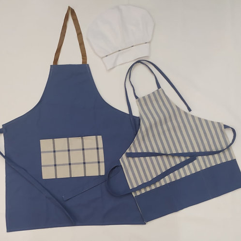 Kit Avental Azul com Cinza
