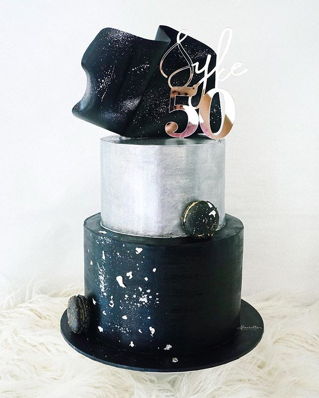 A two-tier Titanium cake for Syke's 50th