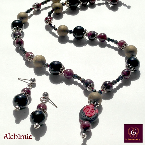 Alchimie - SET Necklace & Earrings. Galvanized Agate, Granat & Onyx.