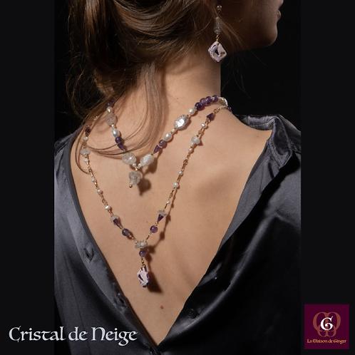 Cristal de Neige - SET 2 Necklaces & Earrings. Crystal Quartz, Pearls, Amethyst