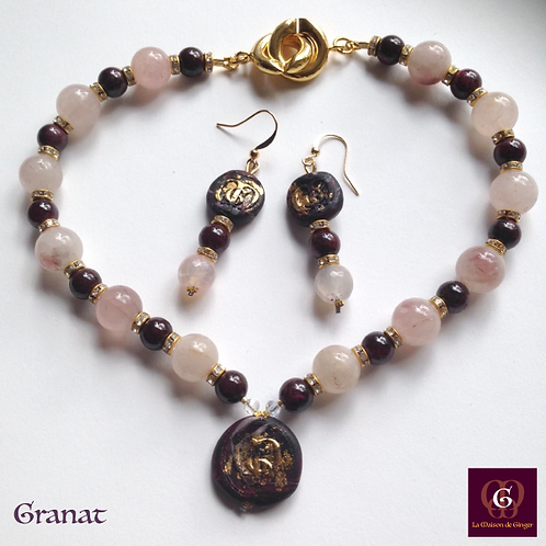Granat - SET Earrings and Necklace. Garnet & Rose Quartz