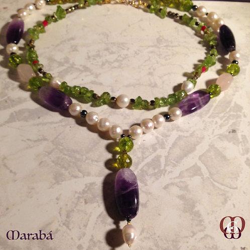 Marabá -  SET Double-Necklace & earrings. Amethyste, Olivin, Pearls, Hematite...