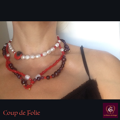 Coup de Folie. Set triple-necklace & earrings. Pearls, Coral, Granat, Amethyste