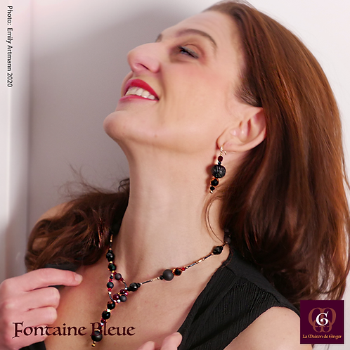 Fontaine Bleue - SET Neklace & Earrings. Agate