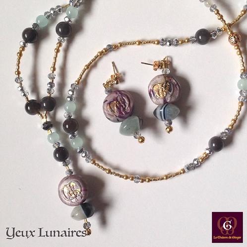 Yeux Lunaires. SET Necklace & Earrings - Agate, Labradorite, Volcanic Stones