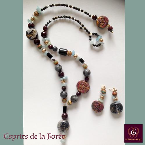 Esprits de la Forêt - SET earrings & necklace. Aquamarine, Granat, Labradorite