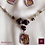 Thumbnail: Anthracite -  SET Necklace & Earrings. Garnet, Turmaline & Handmade beads