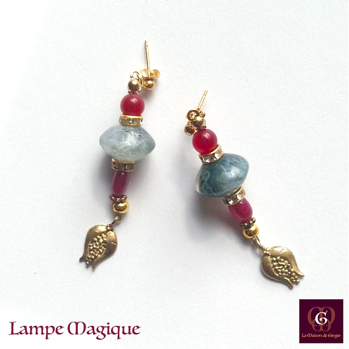 Lampe Magique - Earrings. Ruby & Agate