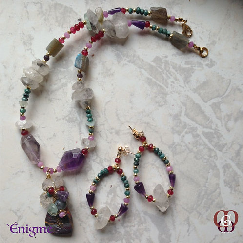 Énigme -  SET Necklace & Earrings. Crystal Quartz, Amethyst, Labrado