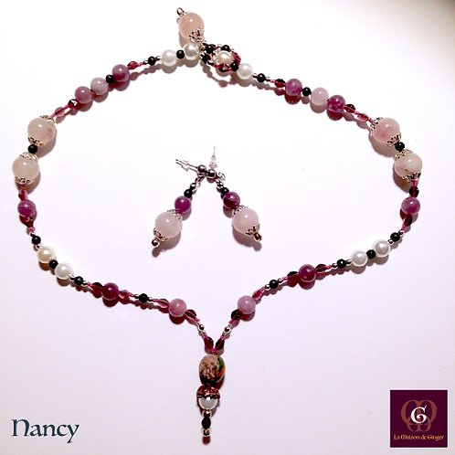 Nancy - SET Necklace & Earrings. Amethyste & Rose Quartz
