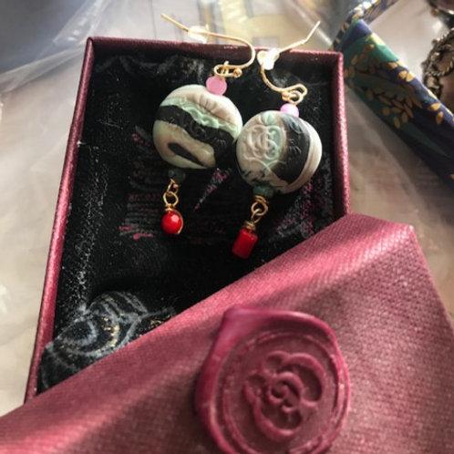 Innanah Rosenrot, Earrings. Turquoise, Amazonite, Jade, Coral, Quartz...