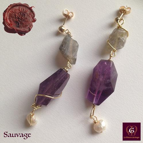 Sauvage -  Earrings. Amethyste, Labradorite & Pearls