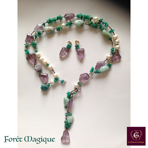 Forêt Magique - SET earrings & double-necklace. Amathyste, Pearls, Amazonite