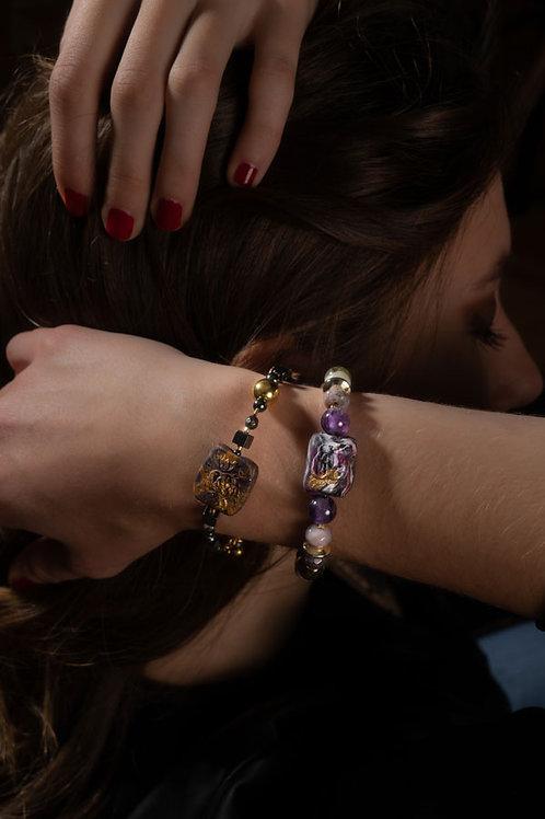 Bouquet - Bracelet . Amethyste, Green Garnet, Agate, Gold-plated Hematite