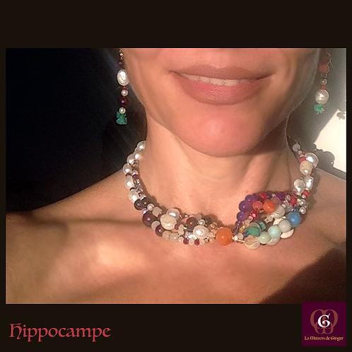 Hippocampe. Set necklace & earrings. Pearls, Amethyste, Garnet, Amazonite