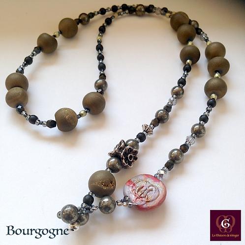 Bourgogne - SET Necklace & Earrings. Galvanized Agate & Pyrite.