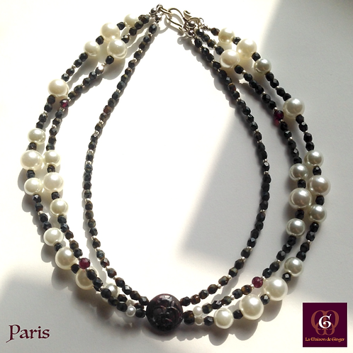 Paris - Necklace. Granat & Pearles