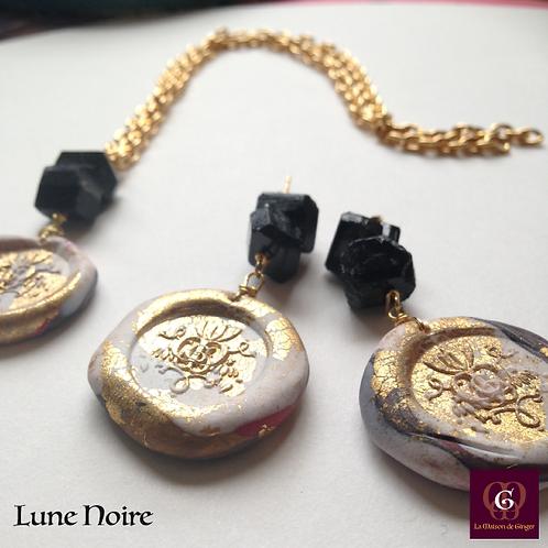 Lune Noire -  SET Necklace & Earrings. Black Tourmaline