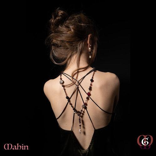 Mahin - SET Earrings & necklace. Garnet, Onyx, Pearls, Pyrite, Agate