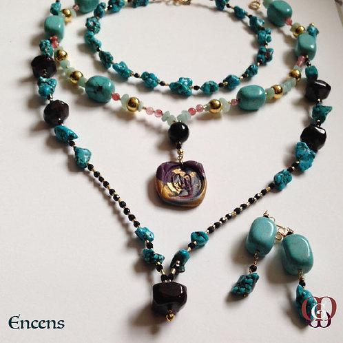 Encens -  SET 2 Necklaces & earrings. Turquoise, Garnet, Aventurine, Quartz