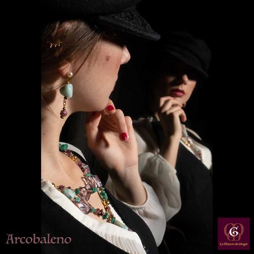 Arcobaleno -  SET Double-Necklace & Earrings. Amethyste, Amazonite, Tourmaline