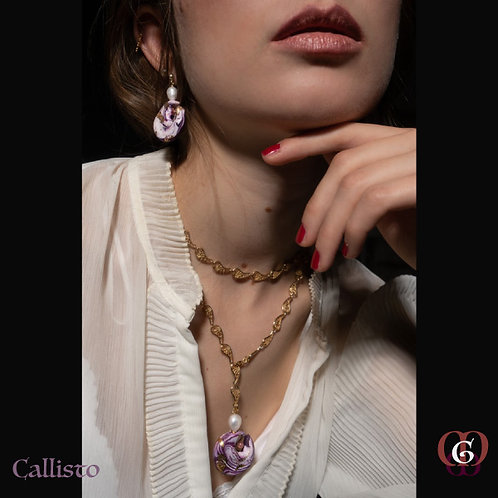 Callisto -  SET Necklace & Earrings. Pearls, Strawberry Quartz & Handmade Beads