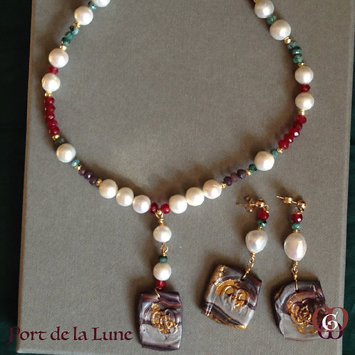 Port de la Lune. SET Necklace & Earrings. Pearls, Jade, Gold-plated Hematite