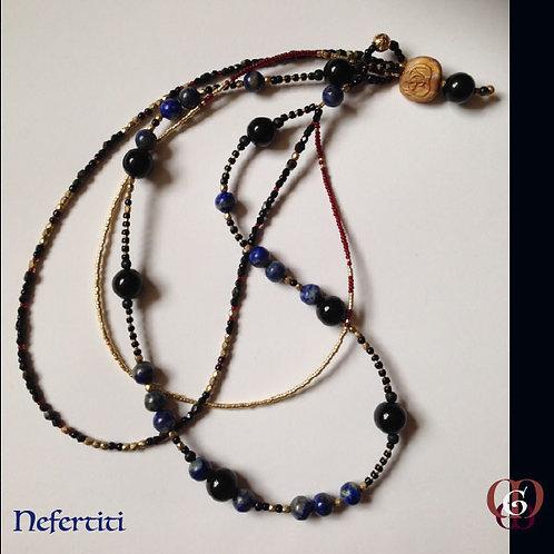 Nefertiti - Triple-Necklace. Lapis Lazuli & Onyx