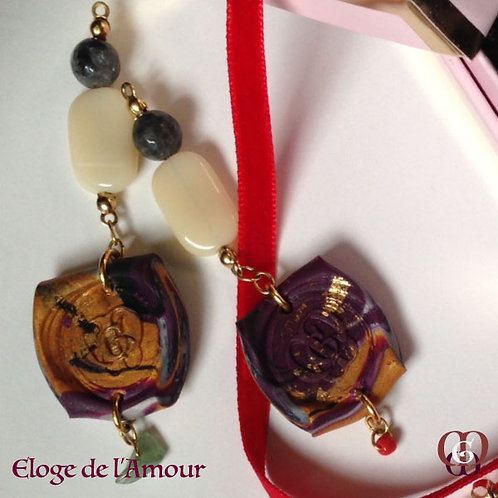 Eloge de l'amour.  Earrings. Labradorite, Handmade imprinted beads with 24k gold
