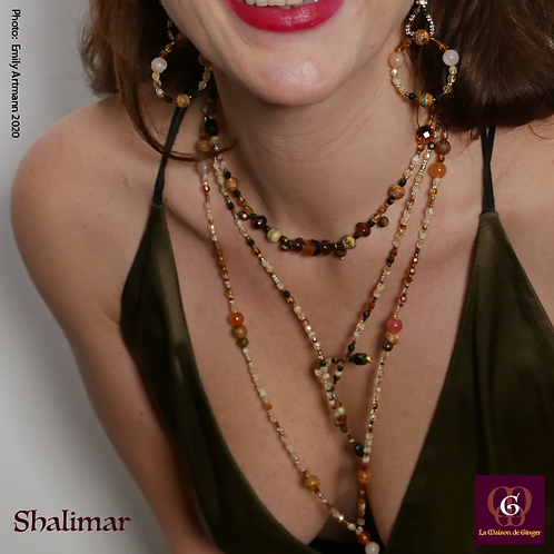 Shalimar - SET. 3 Necklaces & Earrings. Burned Agate, Agate & Carneol