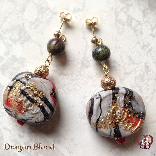 Dragon Blood - Earrings. Dragon Blood & Handmade Elements by La Maison de Ginger