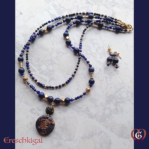 Ereschkigal. SET Earrings & 2 Necklaces. Lapiz Lazuli, Gold-plated Hematite...