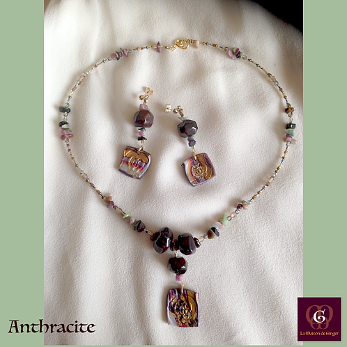 Anthracite -  SET Necklace & Earrings. Garnet, Turmaline & Handmade beads