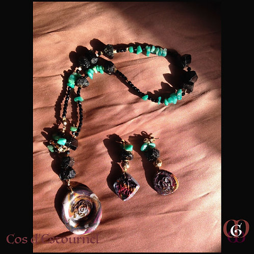 Cos d'Estournel - SET Necklace & Earrings. Amazonite & Black Tourmaline