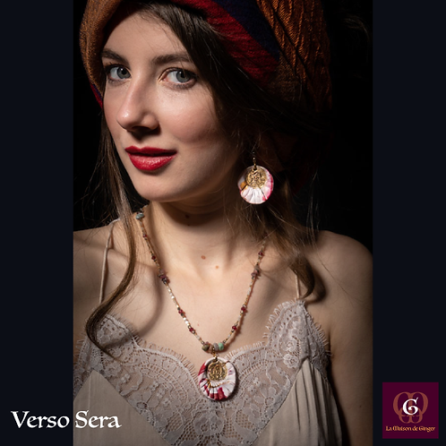 Verso Sera -  SET Necklace & Earrings. Turmalines, Jade, handmade beads