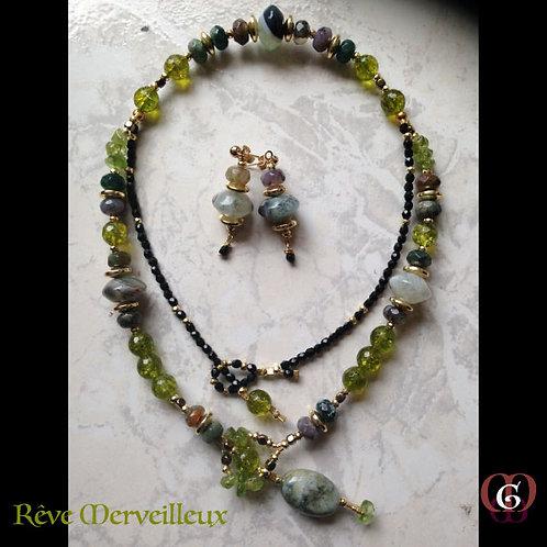 Rêve Merveilleux -  SET Double-Necklace & Earrings. Olive Quartz, Agate, Jade