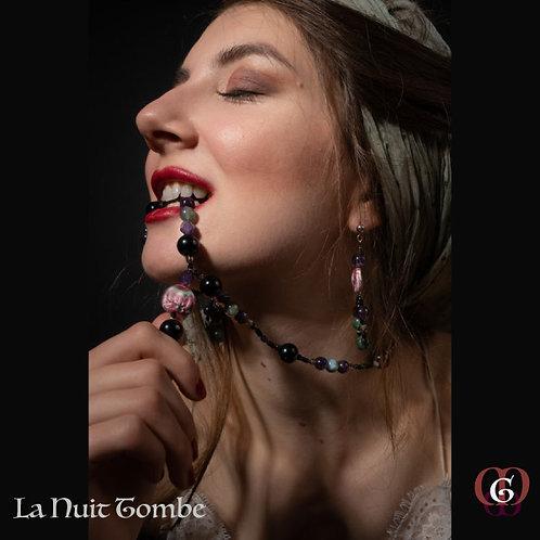 La Nuit Tombe - SET Necklace & Earrings. Amethyste, Agathe & Onyx