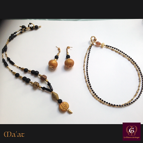 Ma'at - SET Earrings & 2 necklaces. Volcanic Stones, Agate, Brass...