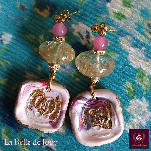 Belle de Jour -  Earrings. Citrine & Handmade imprinted beads with 24 Gold leave