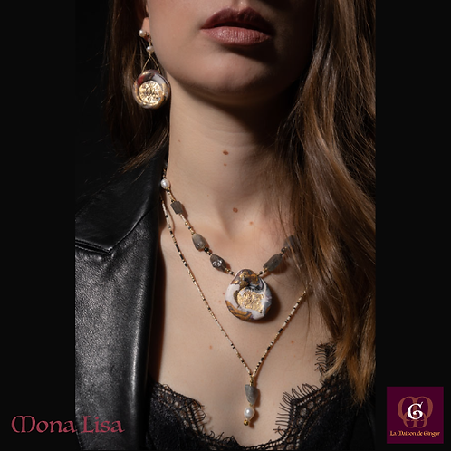 Mona Lisa -  SET 2 Necklaces, Bracelet & 3 Earrings. Labradorite, Pearls, Hemati