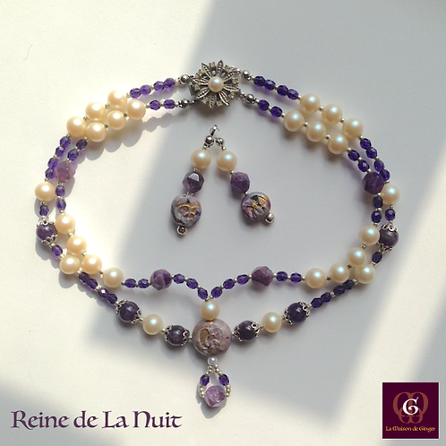 Reine de la Nuit - Set Earrings & Necklace. Amethyste & Pearls