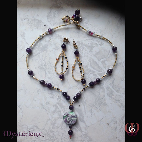 Mystérieux - SET 2 Necklaces & Earrings. Amethyste and handmade beads