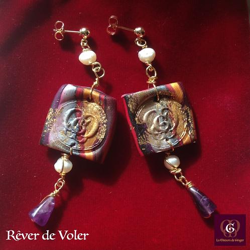 Rêver de Voler -  Earrings. Amethyste, Pearls, Handmade beads with 24k Gold